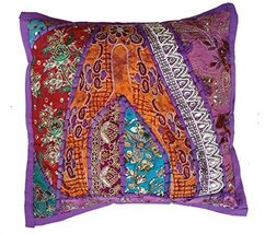 Rastogi Handicrafts Decorative Throw Pillow Cases, Embroidered Cotton Cu... - $14.84