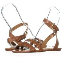 Coach Scarlett Flat Ankle Strap Sandals 137, Saddle, 7.5 US / 37.5 EU - $53.75