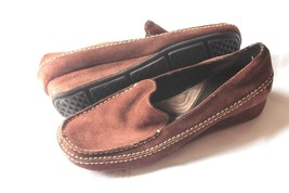 """Aerosoles Shoes Brown Suede Leather overnite Loafers Size 7.5 M 1"""" wedge... - $170,05 MXN"""