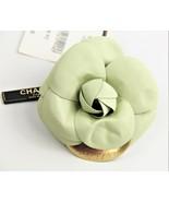 ESTATE Jewelry VINTAGE CHANEL PALE GREEN LAMBSKIN CAMELLIA FLOWER BROOCH... - $475.00