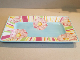 Laurie Gates LGM525P Assorted Color Floral Large Serving Platter (NWOT) - $59.35