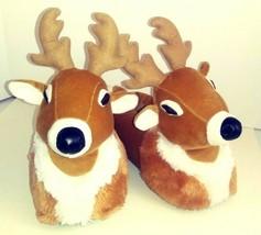 Christmas Holiday Reindeer Slippers Deer Antlers Adult Unisex Plush Fluf... - $19.34