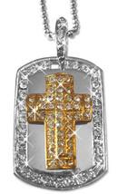 "Hip Hop 14K Gold GP & Silver Two Tone Iced CZ Cross Dog Tag 30"" Chain Ne... - $6.79"