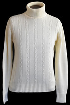 Vintage 70s Sears Mens Cable Knit Turtleneck Sweater Size Medium to Large - $64.99