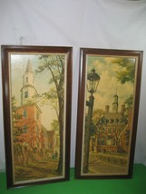 2 Antique Vintage Pictures Prints Williamsburg Scenes 1 & 2 Signed by Dr... - $29.65