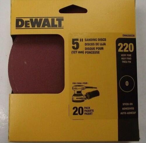 """DEWALT DWAS50220 220 Grit 5"""" Disc No Hole PSA Sandpaper 20 Pack - $3.22"""