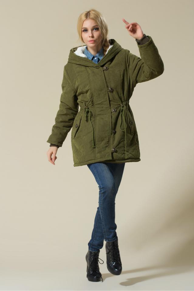 Winter Women Coats Thick Long Cotton Coat Fur Winter Jacket-Plus Size,army green