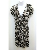 Five by 5 Simon Womens Dress Animal Print Tan Black Cream V-neck Wrap Look  B5 - $16.99
