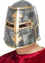 Men's Medieval Crusader Fancy Dress Helmet Moveable Face Shield Knight S... - $14.29