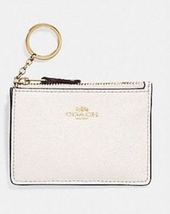 Coach NWT Keychain Coin Purse Ivory Pebbled Leather Zip Closure Logo Slots - $21.71