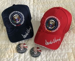 TRUMP HAT (2) MAGA RED & BLUE PRESIDENT SIGNED + 2 PIN BUTTON 2020 INAUG... - $33.85