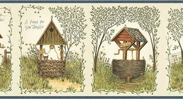 Blue Wishing Well Wallpaper Border Chesapeake Penny For Your Thoughts AA... - $16.99
