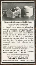 1940 Mary Dodge Studio City CA Print Ad Cho-Co Pops Choclate Dipped Popcorn - $7.64
