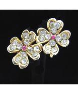 FOUR 4 LEAF CLOVER Rhinestone EARRINGS Vintage Goldtone Screw Backs Pink... - €26,93 EUR