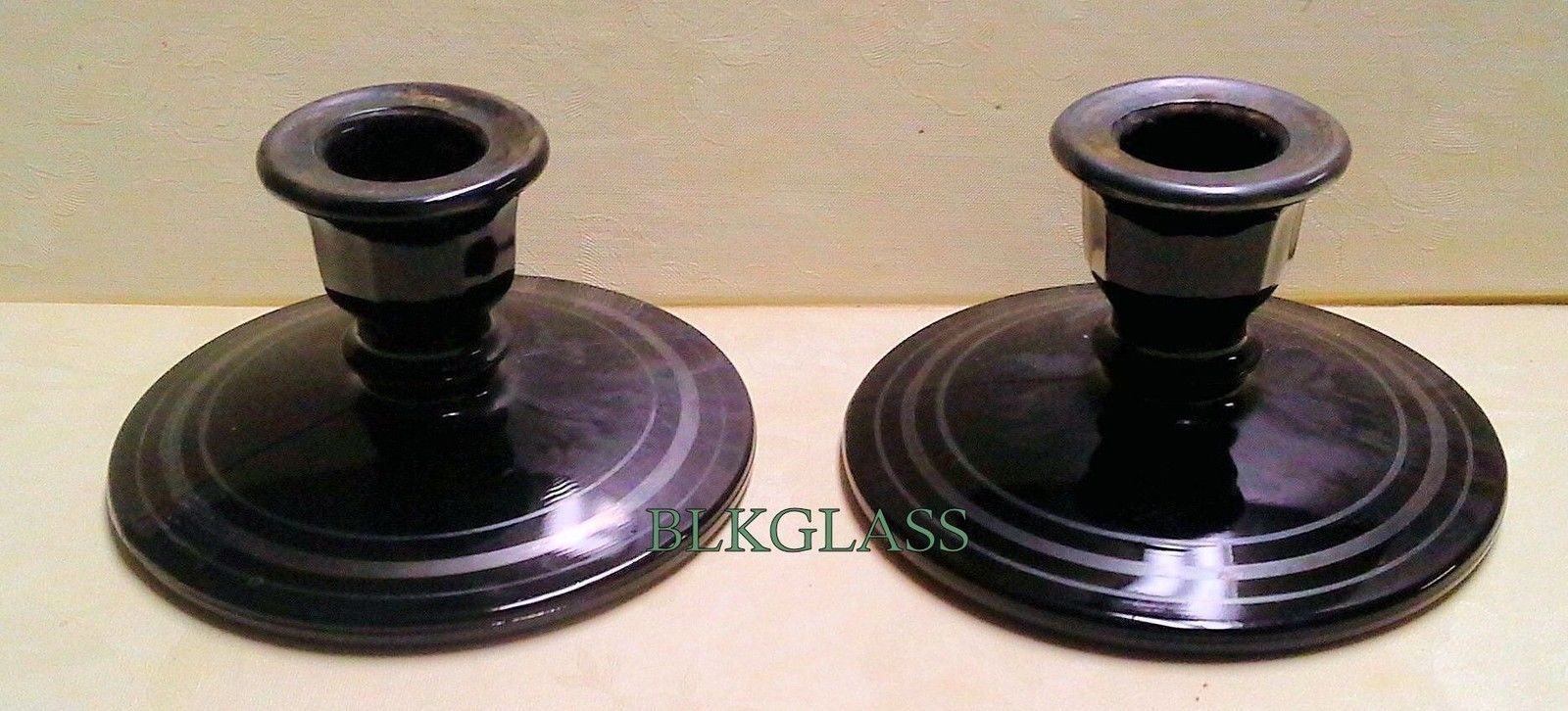 Black Glass Candleholders With 8 Sided Socket, Possibly Made By L. E. Smith - $24.99