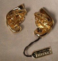 Crown Trifari Gold Tone Earrings with Original Tag - $12.00