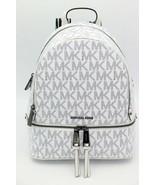 NWT MICHAEL Michael Kors White Signature Glossy Rhea Zip Medium Backpack... - $228.00