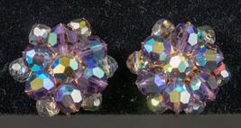 Vintage Aurora Borealis Round Clip On Earrings - FREE SHIPPING - $23.99