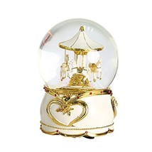 NON ROCK Carousel Horse Crystal Ball Christmas Musical Box Luxury Small ... - $71.71