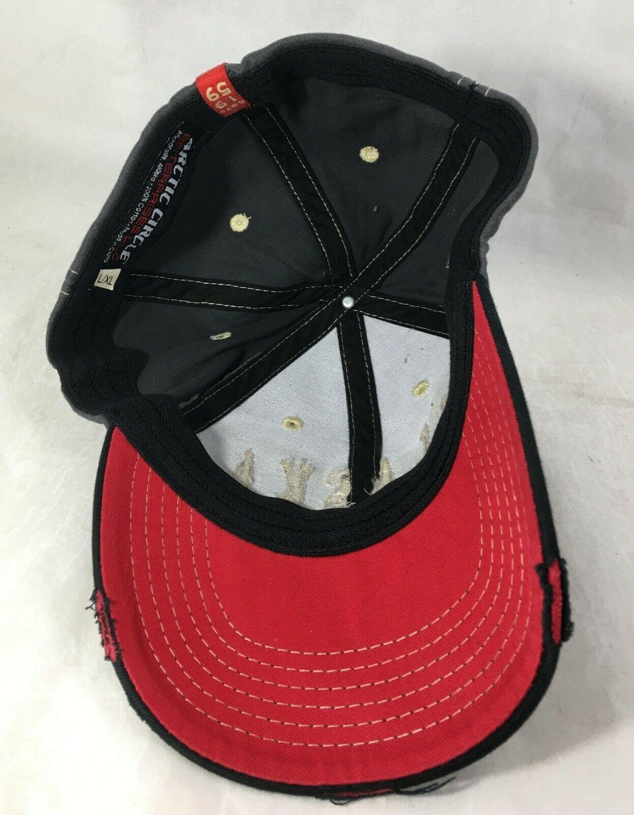 ALASKA Last Frontier Since 1959 Cap Baseball Hat Black Red Distressed L/XL