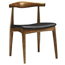 Dining Side Chair with Faux Leather Seat LexMod Hans Wegner Style Elbow - $187.98
