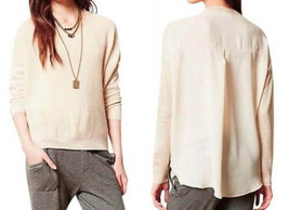 Anthropologie Front vs Back Pullover Large 10 12 Ivory Chiffon Back Oversize NWT - $48.30