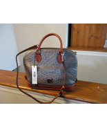 Authentic Dooney & Bourke Ostrich Zip Satchel O343PW Pewter Leather New W/Tag - $168.29