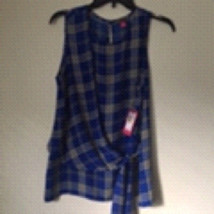ViNCE CAMUTO blue and white Checked Medium TOP BLOUSE. Retail $ 79. Trendy - $39.00