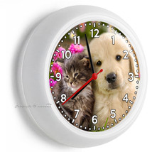 Cute Kitty Cat Kitten And Labrador Puppy Time Wall Clock Room Home House Decor - $23.37