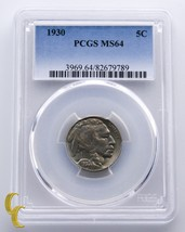 1930 Buffalo Nickel 5¢ Coin Graded by PCGS as MS-64 - $117.81