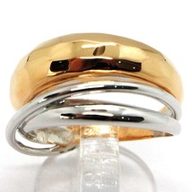 18K ROSE WHITE GOLD BAND RING, HALF HAMMERED AND HALF MULTI WIRES, BICOLOR image 1