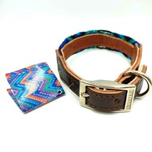 Vtg Embroidered Leather Dog Collar Hand Made Chiapas Mexico Blue Purple ... - $30.61