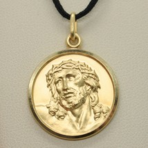 SOLID 18K YELLOW GOLD ECCE HOMO, JESUS CHRIST FACE MEDAL, DETAILED MADE IN ITALY image 2