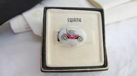 Vintage Swank Model A Antique Car Tie Clasp SilverTone Enamel Original Box - $8.99