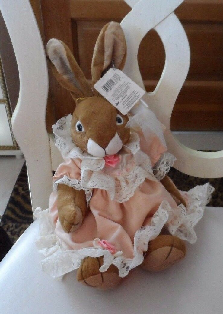 "Primary image for Russ Bunny ""Chelsey""  wearing peach dress with off white lace 10"""