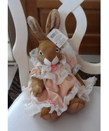 "Russ Bunny ""Chelsey""  wearing peach dress with off white lace 10"" - $13.50"