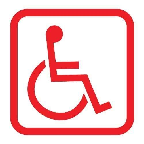 "Primary image for Handicap Disabled Wheelchair Symbol Vinyl Decal - size: 5"", color: SAFETY RED -"