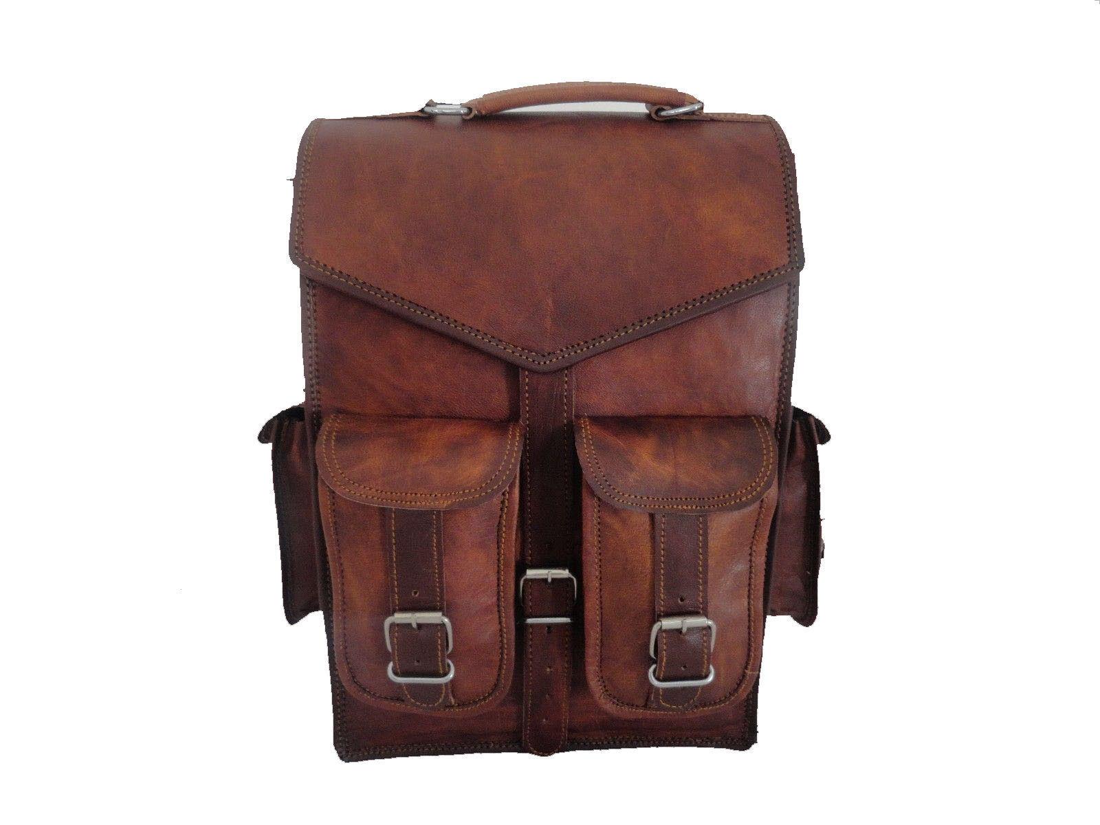 Men's vintage Leather backpack rucksack bag laptop casual travel school bags image 2