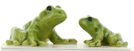 Hagen Renaker Miniature Frog Papa and Baby Ceramic Figurine Set