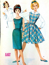Vtg Sewing Pattern 1960s Easy SubTeen Dress Jumper McCalls Sz 12S Bust 3... - $12.73