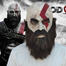 God of War Kratos Cosplay Full Head Face Mask Gaming Horror Halloween Mask - $42.15 CAD