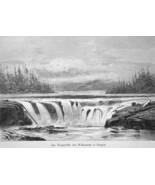 OREGON Falls of Willamette River - 1883 German Print - $16.20