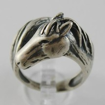 925 SILVER RING BURNISHED WITH HEAD AND TAIL HORSE MADE IN ITALY image 1