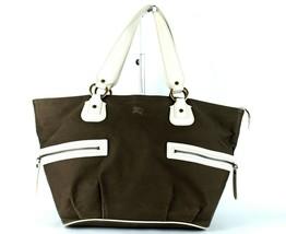 Auth Burberry London Blue Label Olive Canvas & Leather Hand / Shoulder Bag Purse - $177.21