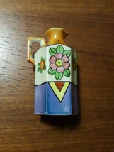 Vintage Lustreware Pitcher or Vase Hand Painted Art Deco Floral Made in Japan - $9.85