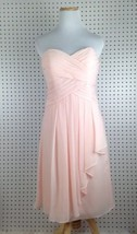 David's Bridal F14847 Strapless Pink  Formal Bridesmaid Cocktail Dress S... - $34.83