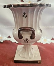 Vintage Glazed Brown on Cream Lighthouse Ceramic Two Handled Urn Planter Vase image 2