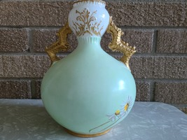 Antique Knowles, Taylor Knowles Lotusware Ceramic Handled Vase, Handpainted image 4