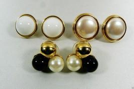 Vintage Lot of 3 Gold Tone metal Black White pearl faux stud Earrings - $16.63