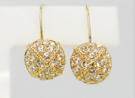 Vintage Gold Tone & Crystal Rhinestone Ball GT Earrings - Pierced - $10.00